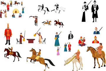 Nomad people vector collection set. Kazakha in traditional national drees.