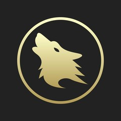 Golden Wolf Silhouette Logo or Icon