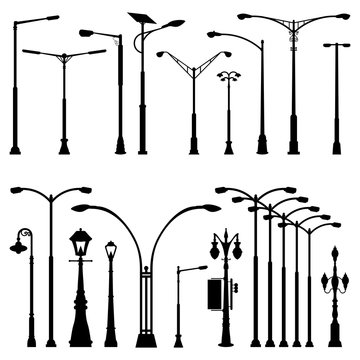 Street Pole Post Lamp Silhouette - Antique Modern and Variations