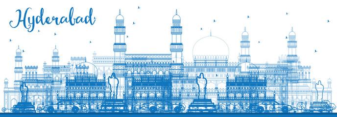 Outline Hyderabad Skyline with Blue Landmarks.