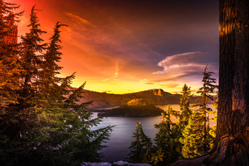Poster de jardin Parc Naturel Crater Lake National Park Oregon