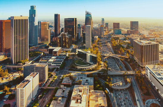 Aerial view of a Downtown LA at sunset