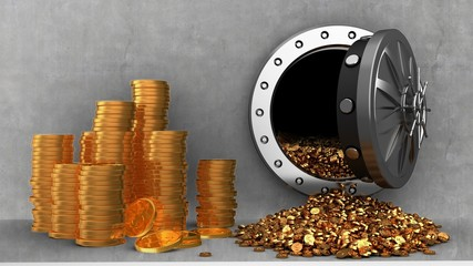 3d illustration of vault door and coins over cement background with coins