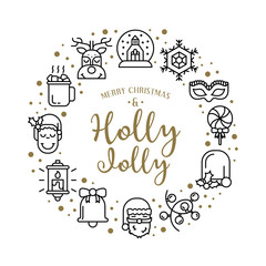 Vector illustration with christmas icons