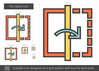 Flip object line icon.