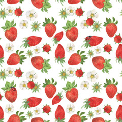 Watercolor painting Seamless pattern of strawberries and flowers