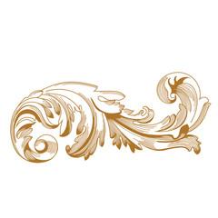 Golden Vintage baroque ornament. Retro pattern antique style acanthus. Decorative design element filigree calligraphy vector. - stock vector