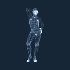 Man Stands on his Feet. 3D Model of Man. Human Body Model.