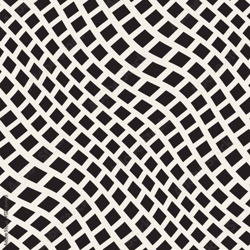 Vector seamless black and white distorted wavy lines for Moquette art deco