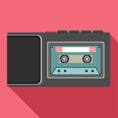 Dictaphone flat icon. Vector audio technology equipment illustration.