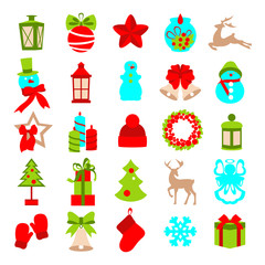 Collection of colorful christmas elements and decorations