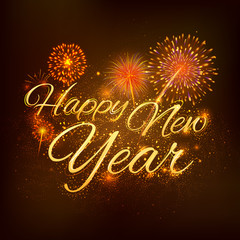 Happy New Year celebration abstract Starburst Seasons greetings background with firework
