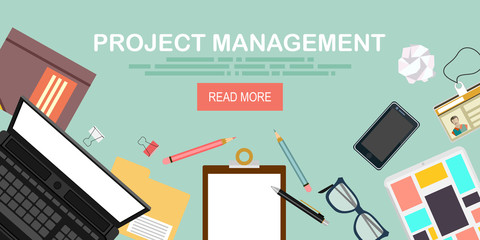 Flat modern design concept for project management website banner