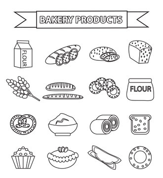 Bakery products icon set, line, outline, doodle style. Set of different bread and pastry isolated on white background. Flour products. Vector illustration