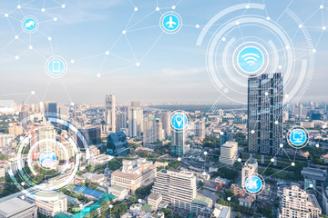 smart city and wireless communication network, IoT(Internet of T Fotoväggar