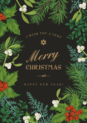 Greeting Christmas card in vintage style.