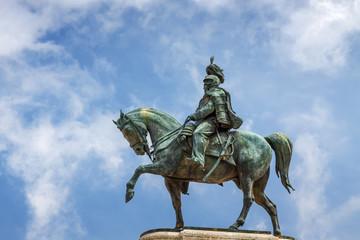 Statue of Vittorio Emanuele II in Vittoriano palace in Rome, Lazio region, Italy.