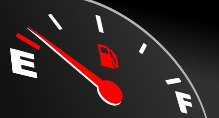 Red fuel gauge showing empty tank