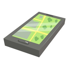 GPS map on phone icon. Cartoon illustration of GPS map on phone vector icon for web design