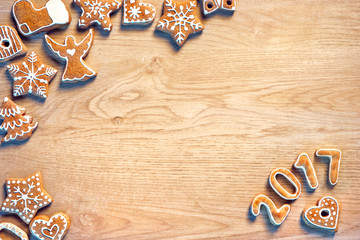 Traditional Christmas cookies on wooden table. Top view. Christmas baking concept