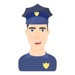 Policeman icon. Cartoon illustration of policeman vector icon for web