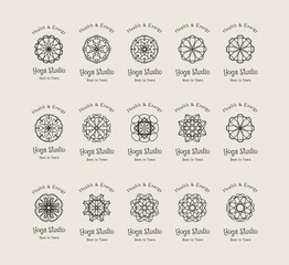 Yoga Studio Vector Logo Templates Set