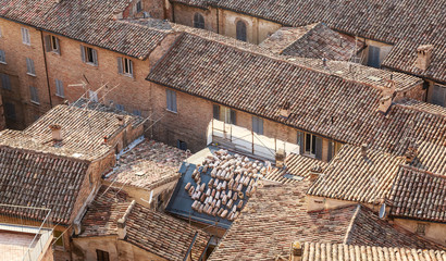 Roofs of old houses. Urbino. Italy, Marche