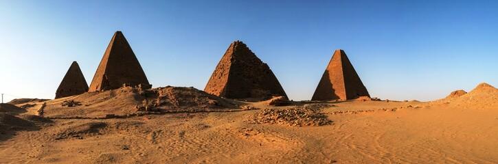 Panorama of Pyramids near Jebel Barkal mountain, Karima Napata Nubia, Sudan