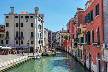 scenic canal with colorful ancient houses, Venice, Italy