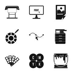 Printing in polygraphy icons set. Simple illustration of 9 printing in polygraphy vector icons for web