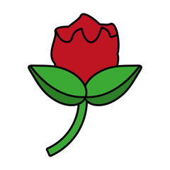 beautiful cartoon red flower leaf icon vector illustration eps 10