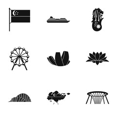 Tourism in Singapore icons set. Simple illustration of 9 tourism in Singapore vector icons for web