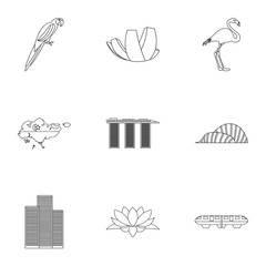 Tourism in Singapore icons set. Outline illustration of 9 tourism in Singapore vector icons for web