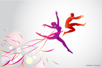 The motion of humans. silhouette of a jumping man and girl. suit