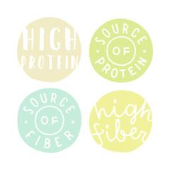 Set of badges. High protein, fiber.