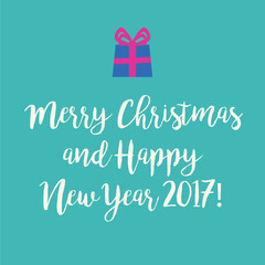 Cute blue Merry Christmas greeting card