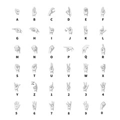 Sign language interpreter, latin alphabet grayscale signs on white