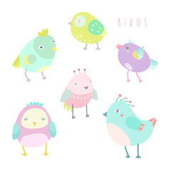 Cute birds set.