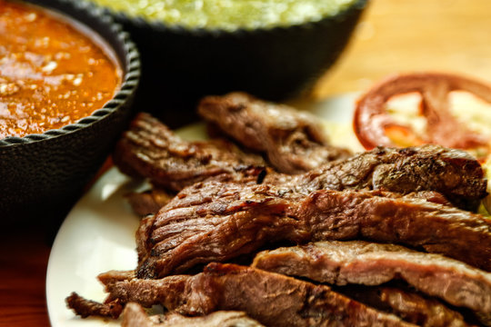 Beef fajitas with sauces