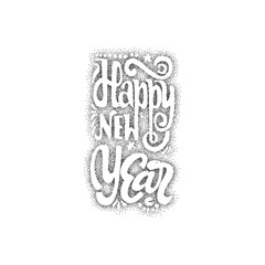 Happy new year 2017 hand-lettering dotwork text . Handmade vector calligraphy for your design