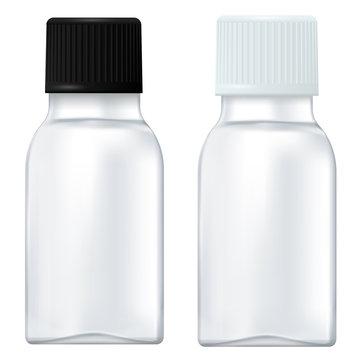 Medicine bottle. Small white bottle with plastic cap