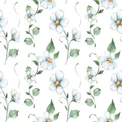 White flowers. Watercolor floral pattern. Seamless hand drawn background 3