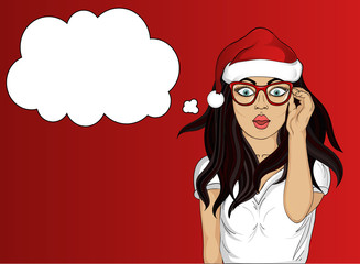 Wow. Girl in Santa Claus hat very surprised. Young woman. Vector