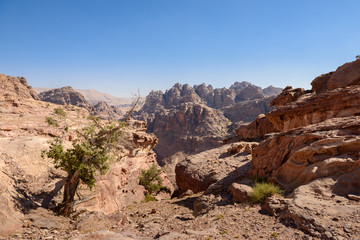 wild landscape of rock mountains in Petra, Jordan