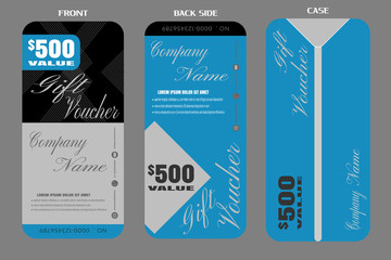 Set of vector blank gift voucher with case to attract new customer on blue and gray background.