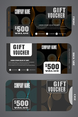Set of vector blank gift voucher with case to increase sales with pattern on a gray background.