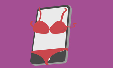 Adult Smart Phone Wearing Bra and Shorts Illustration