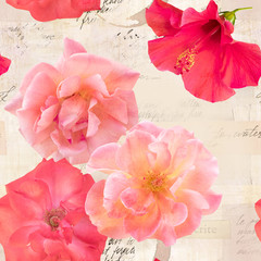 Seamless pattern with blooming roses on old ephemera