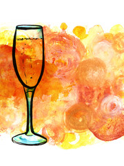 Freehand drawing of champagne glass on golden background