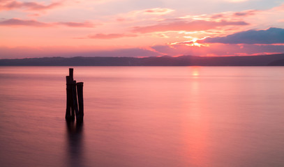 Sunset on Bracciano lake in Italy, long exposure